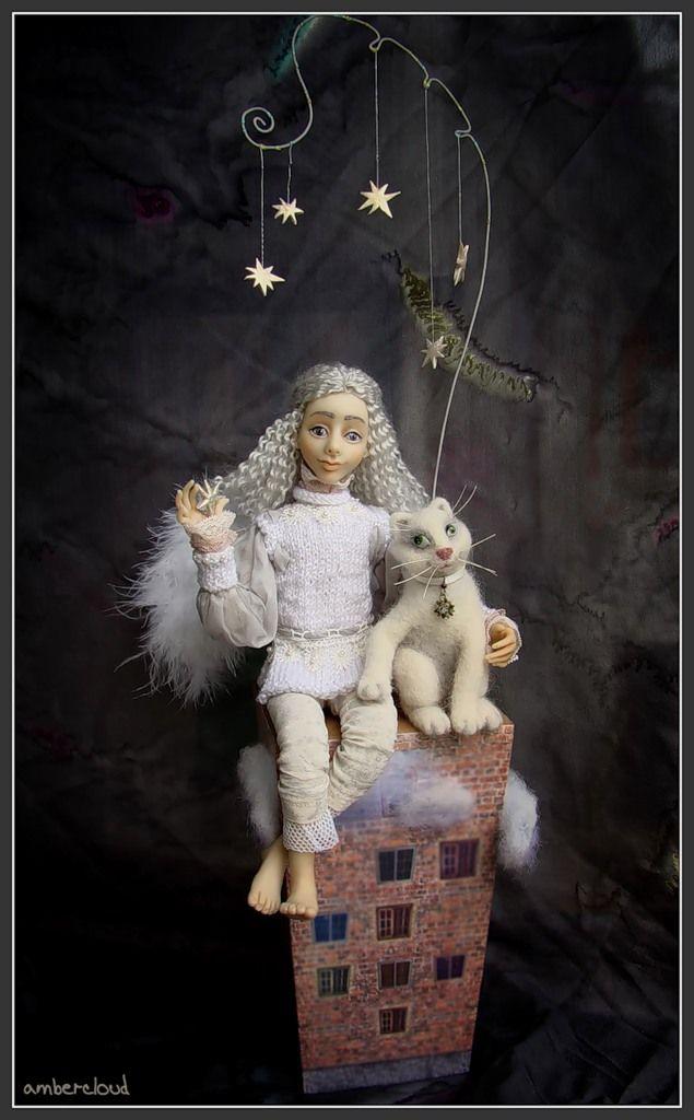 Звёздный Ангел и Белый Кот *** doll, dollart, hand made, ©ambercloud, авторская кукла