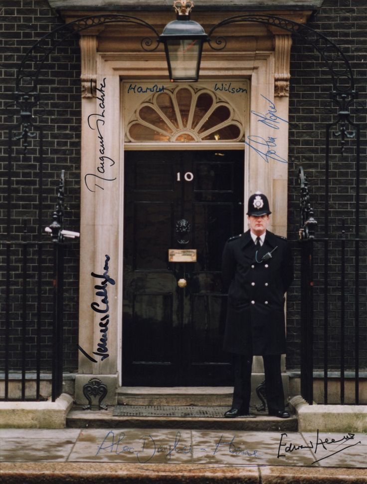 BRITISH PRIME MINISTERS: An excellent colour 8 x 10 photograph of the entrance to 10 Downing Street individually signed by six British Prime Ministers of the 20th century comprising Alec Douglas-Home (1963-64), Harold Wilson (1964-70, 1974), Edward Heath (1970-74), James Callaghan (1976-79), Margaret Thatcher (1979-90) and John Major (1990-97). All have signed with their names alone in blue or black inks to clear areas of the image