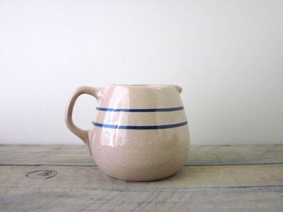 Farmhouse Pitcher Tan Brown with Blue Stripes by 22BayRoad on Etsy, $24.00