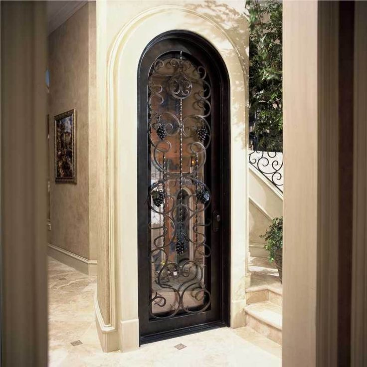 Beautiful Hand Forged Wrought Iron Wine Cellar Door The