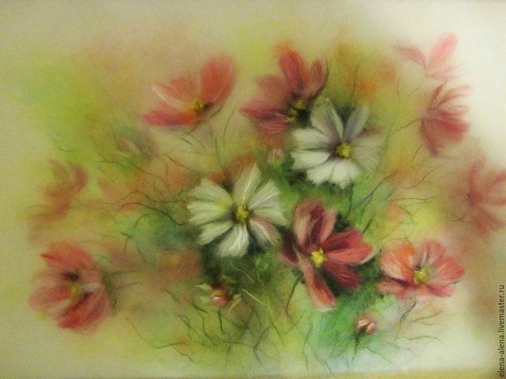 Купить Картина из шерсти Воспоминание о лете (1) Космея. - розовый, нежные цветы, космея