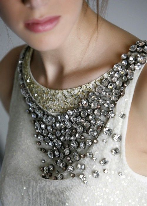 Crystal-clear neckline.