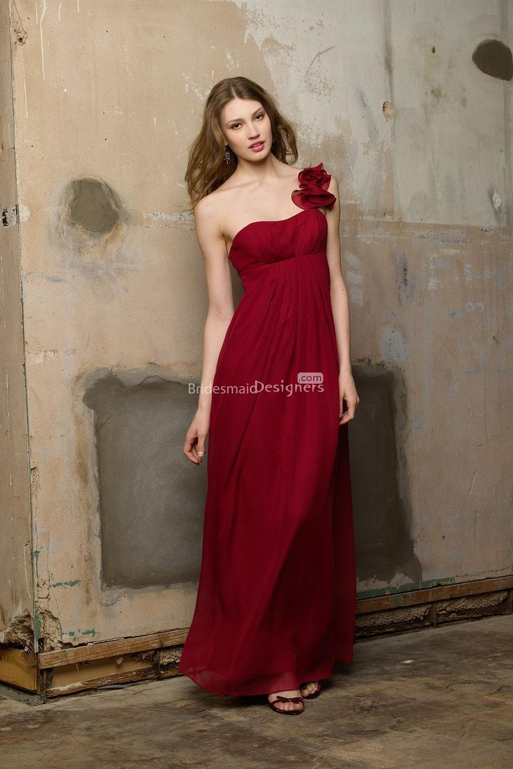 unusual red one shoulder empire long pleated chiffon bridesmaid dress with flower detail on strap             US$ 393.00 off US$215.00