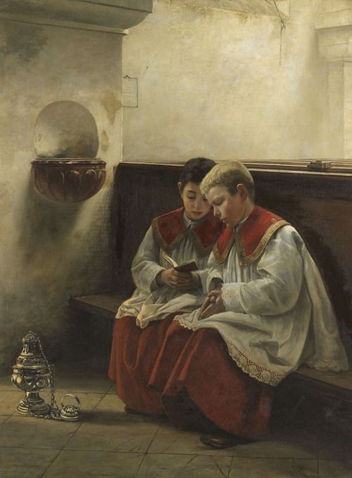 Altar Servers In Prayer - Felix Freiherr von Ende