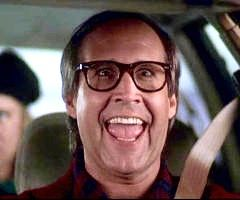 Christmas Vacation (1989) - CLARK: Burn some dust here. Eat my rubber. RUSTY: Dad, I think you mean burn rubber and eat my dust.  CLARK: Whatever Russ, whatever. Eat my road grit, Liver Lips!