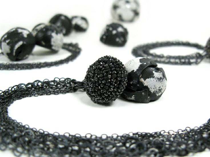 Susie Ganch | Necklace 2013. Enameled steel, silver, black diamonds, 18k gold