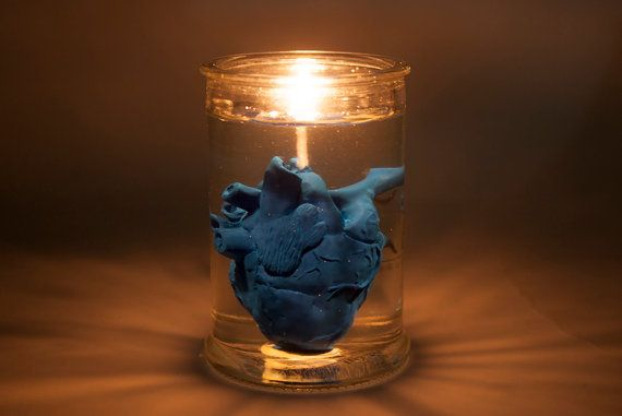 lighting blue heart in jar candle