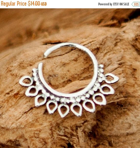 ON SALE 15% OFF Silver Nose Ring  Silver Nose Hoop  by RONIBIZA