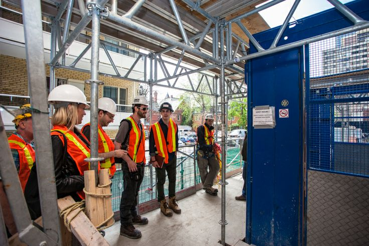 X2 Construction Tour (May 2014) -- waiting for the lift to the 46th floor.