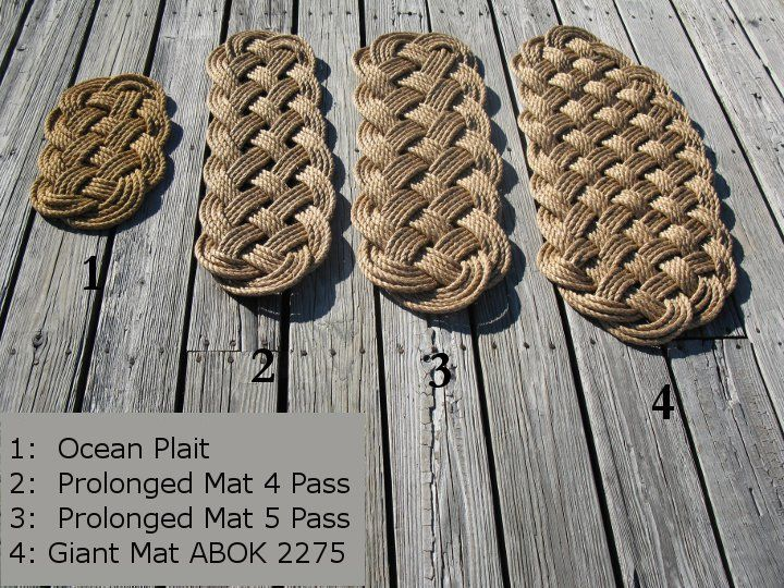 "This classic rope mat is made with 50 feet of 1/2"" manila rope and measures approximately 21 inches long by 12 inches wide. This smaller sized mat is perfect for the back door, or use it as a rustic t"
