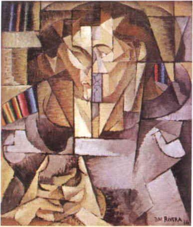 En esta obra se logra ver a dos personas besándose, ambos están pintados por cuadros, cada parte de su cuerpo esta en un cubo uno tras otro unidos con el fin de dar forma a esos dos individuos
