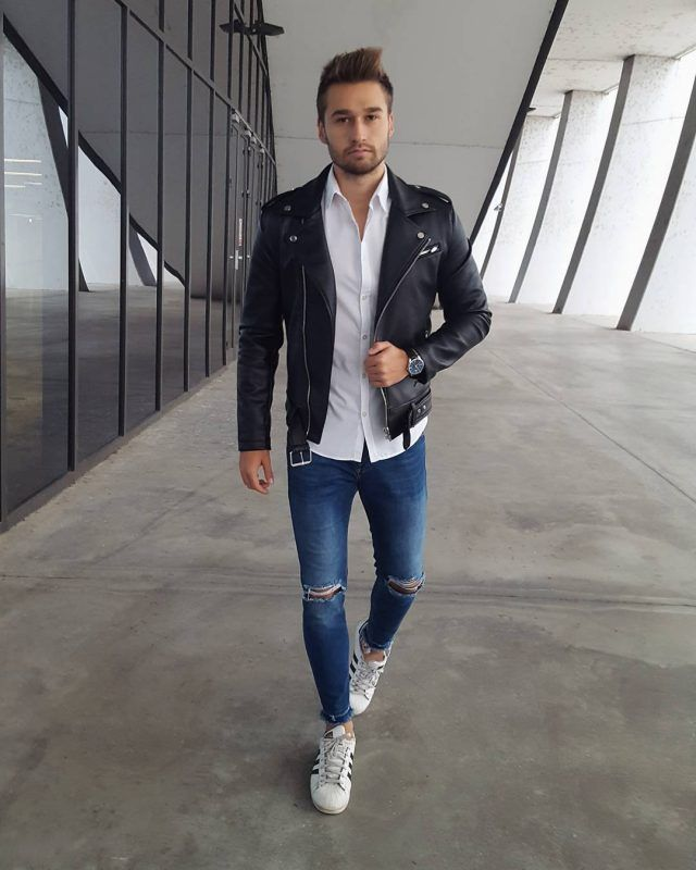 84839727bc69 Mens Fall Fashion Trends of 2018 on How To Wear Fall Leather Jackets 19 --  Click image to see more.  men  outfits  UrbanMenOutfits  mensfashion   mensguides ...