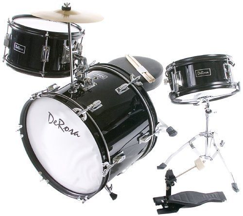 De Rosa DRM316-BK Junior 3 Piece 16 Inch  Drum Set with Chair, Black by De Rosa. $131.56. De Rosa Junior Drum Set is the ultimate drum kit for any young aspiring drummer. This set comes with everything your drummer will need to start playing.  Built using real drum specifications the De Rosa Junior drum set is made using Birch and features authentic metal hardware. The materials used in these sets are equivalent to materials used in higher priced adult Drum Se...