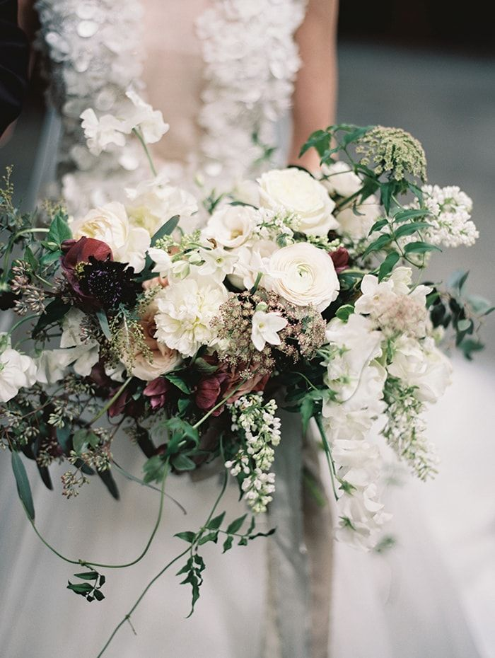 Romantic Outdoor Wedding with Unique Details - Once Wed trailing jasmine, roses bouquet