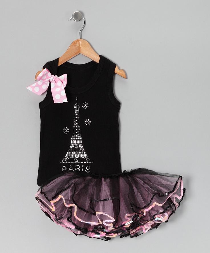 Sewing inspiration  Black & Pink Eiffel Tank & Pettiskirt - Infant, Toddler & Girls