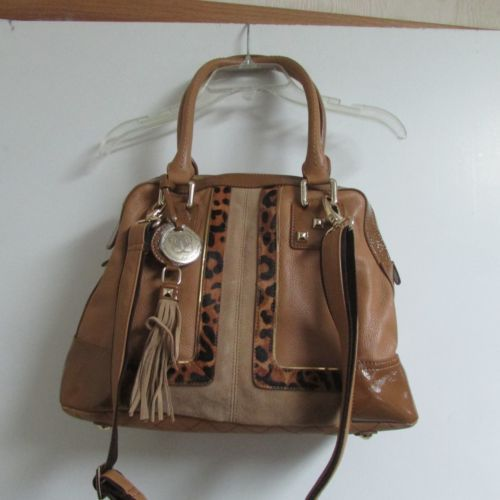 Original-by-Sharif-1827-Leather-Brown-Purse-Top-Zip-Pockets-2Straps