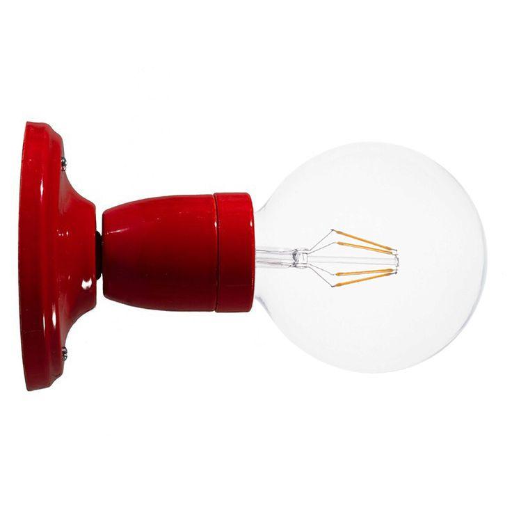 Comprar   Lámpara zócalo porcelana pared o techo rojo   Lámparas Acabadas  #lamparas #decoracion #iluminacion #accesorioslamparas #lamparasoriginales #accesoriosiluminacion