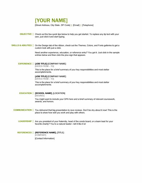 basic resume templates - Sample Resume For Any Job
