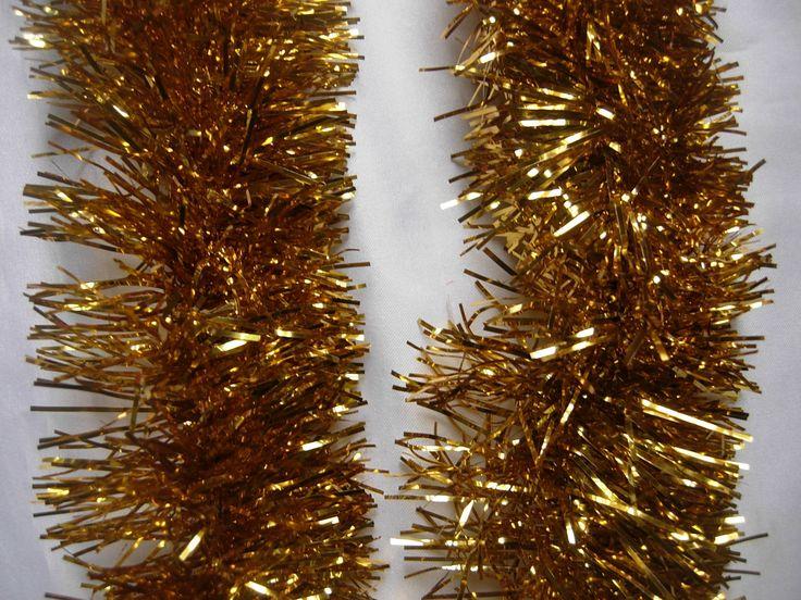 6 espumillón para árbol de Navidad dorado x2m 9 cm