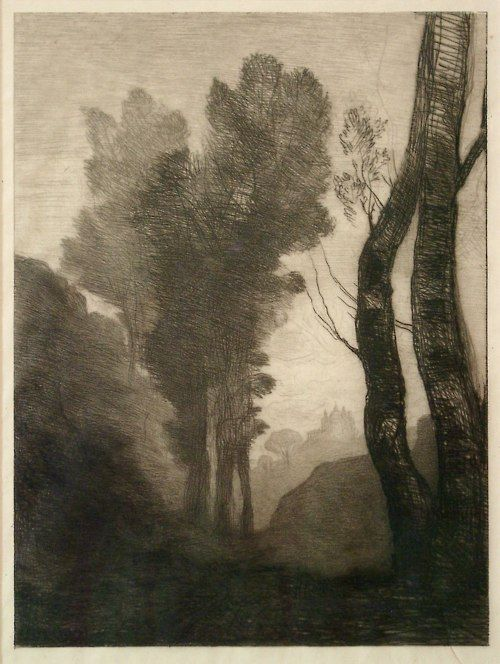 Environs of Rome; (1866). Jean-Baptiste-Camille Corot (1796-1875). Etching. 290 mm x 213 mm. The British Museum. http://www.britishmuseum.org/explore/highlights/highlight_objects/pd/j/jean-baptiste-camille_corot,_e.aspx