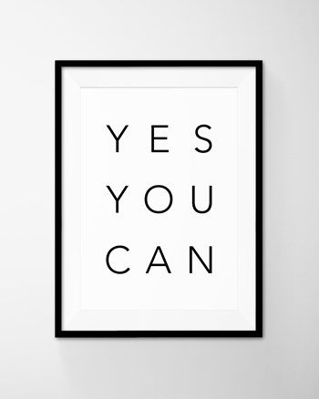 Yes You Can Motivational Poster Art Printable Typography Quote. Instant Download File from DEERxBEAR at www.printablez.ca