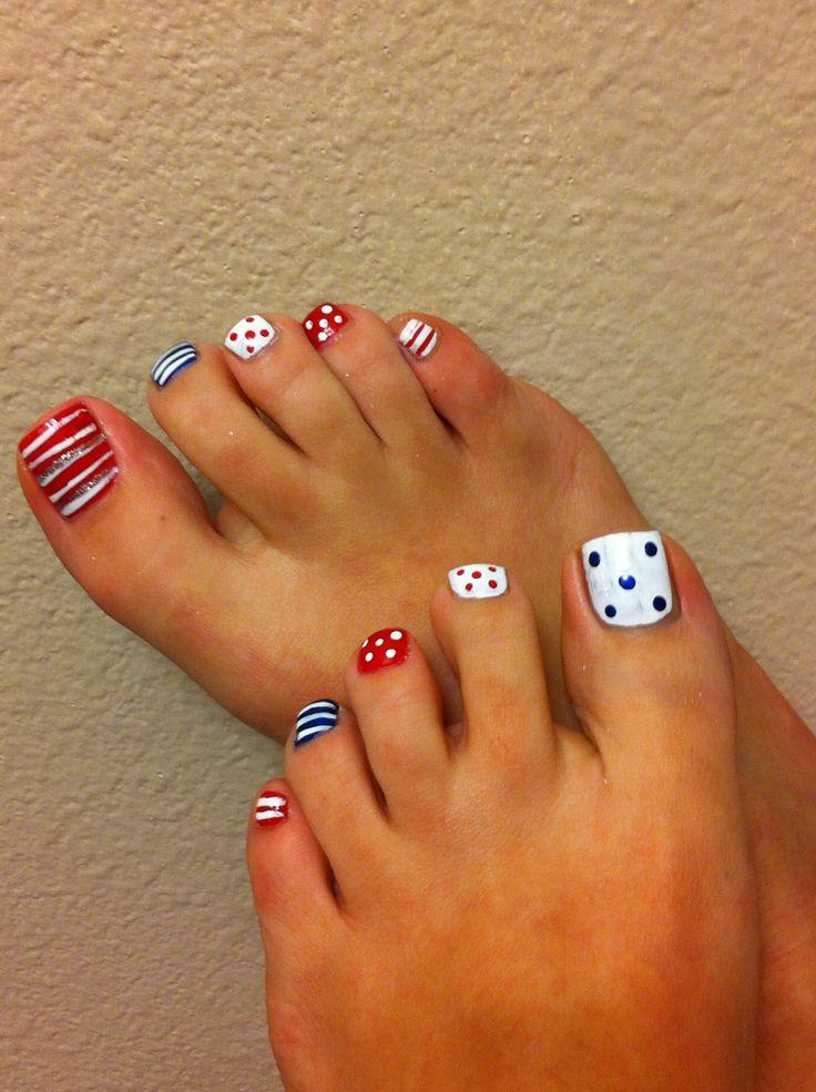 Nail art , cute pedicure idea. Mix and match pedi, pedimonday - 199 Best Patriotic Nails Images On Pinterest Nail Scissors, Cute