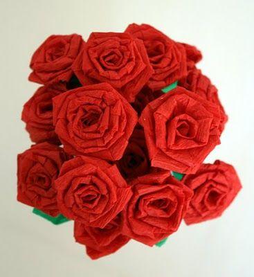 Dollar Store Crafts-- Crepe paper roses tutorial.