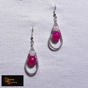 wire wrapped earrings, made with pink agate stones and rose quartz | BubbleCrafts | www.facebook.com/bubblecrafts.handmade