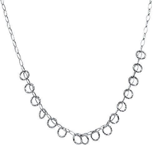 "18"" 14K White Gold Italian Handmade Circle Dangle Womens Necklace 4.3 Grams Pompeii3 Inc."