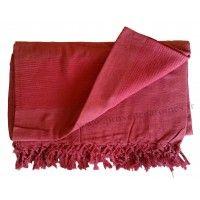 Grande Tenture Kérala Plaid couvre-lit rouge bordeaux