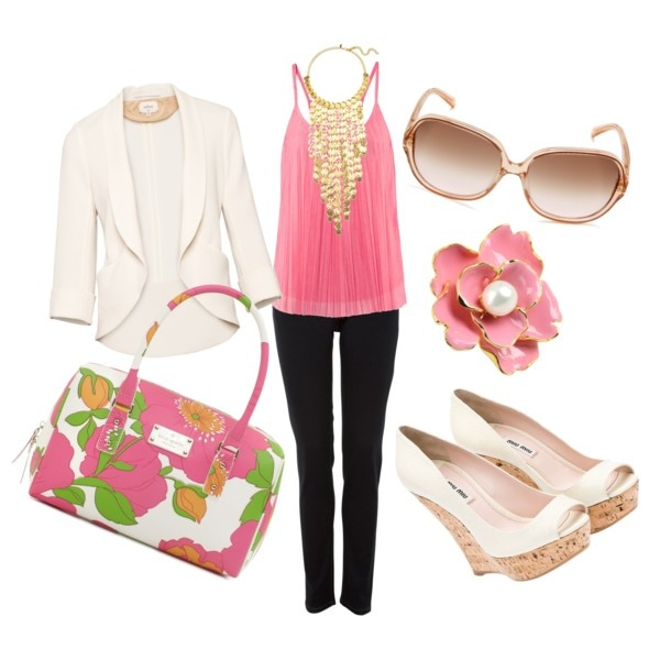 warm weather...come back!: Fashion, White Blazers, Spring Colors, Pretty Colors, Warm Weather Outfits, White Wedges, Eyecatch Colors, Warm Weather Com, Soft Pastel