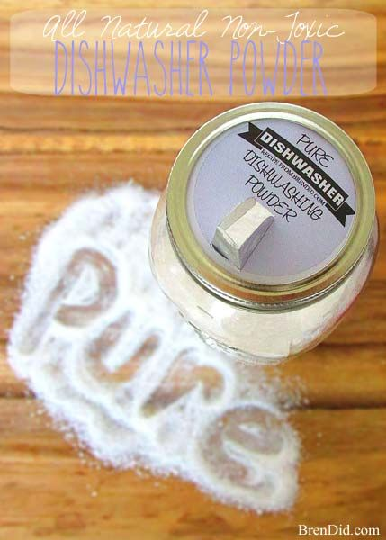 Non-toxic, All Natural Dishwasher Powder - Do you dishes naturally for $0.04 a load. Recipe at BrenDid.com. #DIY Easy DIY Ideas, Craft Ideas