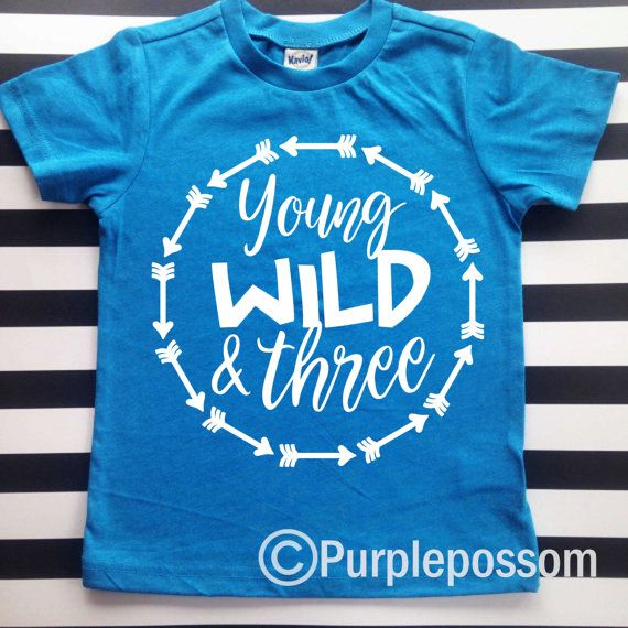 3rd Birthday Shirt Young Wild and Three Jersey by PurplePossom