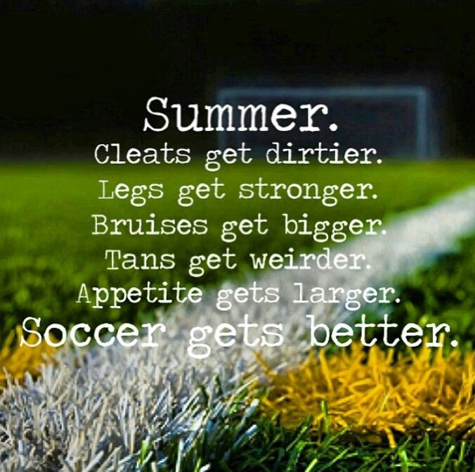 Even though soccer season isn't in the summer for me I condition all summer. All winter. All fall. All spring