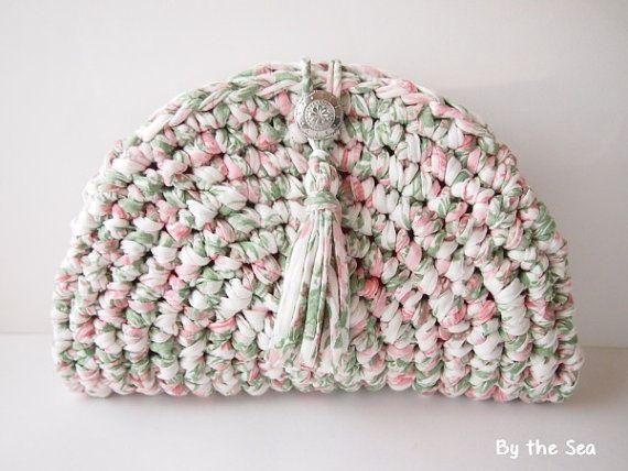 T shirt yarn  crochet Clutch Bag   Tea Rose by BytheSeajewel