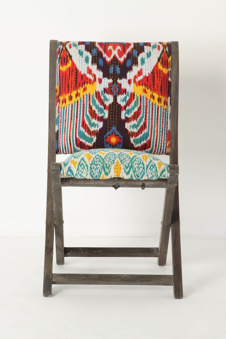 Terai Folding Chair, Red Ikat, wood frame, Kantha-style embroidery, $129.95 at Anthropologie.