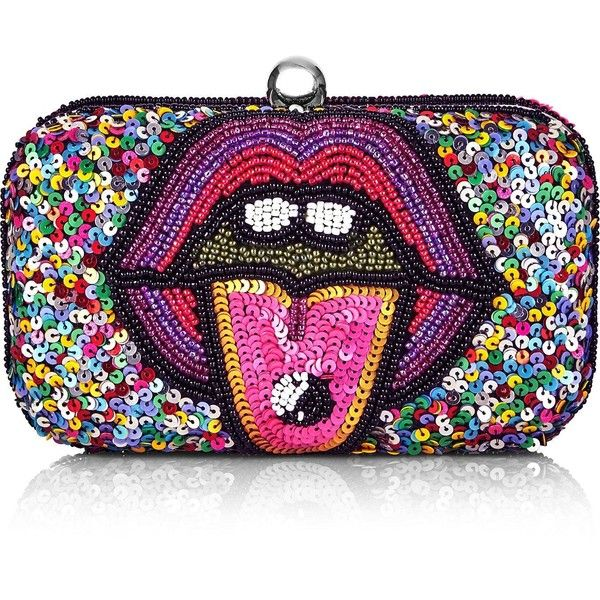 From St Xavier Two Bad How Two Live X From St Xavier Mouth Clutch featuring polyvore, women's fashion, bags, handbags, clutches, multi, multi color purse, summer handbags, lips pursed, summer clutches and beaded purse
