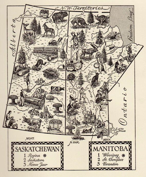 Manitoba Map Print // Saskatchewan Map Illustration // Canadian Map Artwork // Vintage Map of Canadian Provinces by HildaLea on Etsy