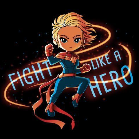 Captain Marvel Fight Like A Hero T-Shirt   Official Marvel Tee   TeeTurtle