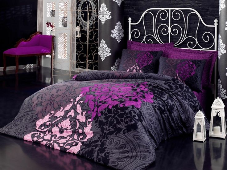 die besten 25 lila und graue bettw sche ideen auf. Black Bedroom Furniture Sets. Home Design Ideas
