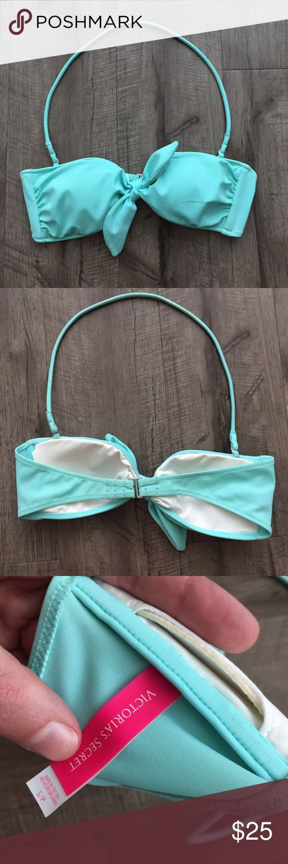 Victoria Secret Bow Bandeau Top Victoria Secret Bow Bandeau Top in aqua with removable halter strap and removable padding. Worn once so in great condition, didn't like the fit/style for myself. Victoria's Secret Swim Bikinis