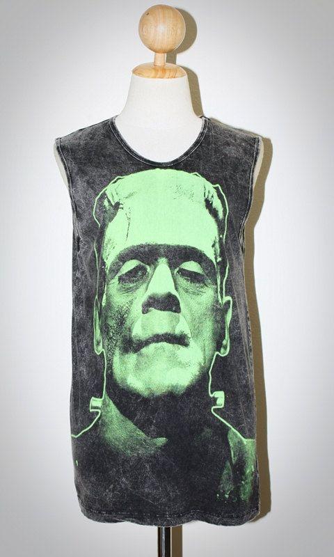 Frankenstein's monster Bleached Black Tank Top Women Indie Punk Rock Sleevless T-shirt Size S