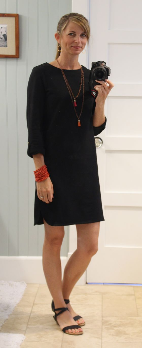 Very simple black dress, but the cut is nice without being too boxy/frumpy. LOVE the hem detail.