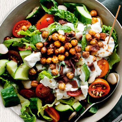 Fried garbanzo beans add unexpected flavor and crunch to a chopped salad you can serve family style. Recipe: Chopped Salad with Bacon and Fried Garbanzo Beans