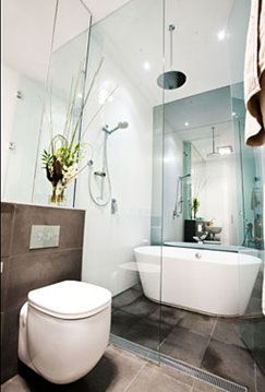 Ensuite bathroom with walk in wet area containing shower for Wet area bathroom ideas