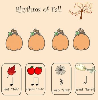 "This fun, fall themed whiteboard activity can be used for students to practice basic rhythm notation using quarter, double eighth, quarter rest and half notes. It can also be used as an assessment tool to assess student's understanding of basic rhythm notation.  Click the pictures and notes to hear the words that are associated with basic rhythm notation, and click the notes to hear ""tah"", ""ti-ti"" and ""shh!"" In addition, a wind picture, ""brrr!"" depicts the half note that lasts for 2 beats."