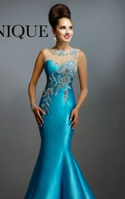 Beaded Mermaid Gown by Janique 1391