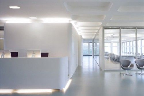 Commercial office space polished concrete