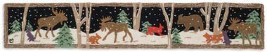 Moose Mural 1'X6' Hooked Wool Hearth Rug