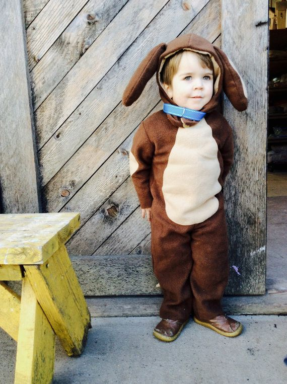 Puppy Dog Halloween Kids Costume for Boys or Girls, Toddler Costume, Childrens Costume, hood and suit Doggy Costume